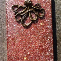 Bronze Octopus Glitter iPhone 4 4s Hard Cover Case by kaylafenton