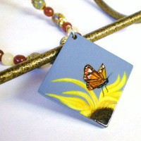 Hand Painted Summer Sunflower and Monarch Butterfly Pendant Necklace | JewelryArtByDawn - Jewelry on ArtFire