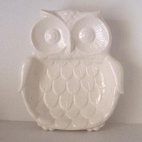 Forest Owl Spoon Rest Tray In White PREORDER by fruitflypie