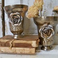 Nickel plated vase set distressed trophy style French farmhouse centerpiece table decor Anita Spero