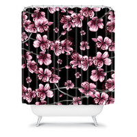 DENY Designs Home Accessories | Belle13 Cherry Blossoms On Black Shower Curtain
