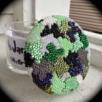 Handmade 3D Rhinestone CAMO Glass Stash Jar