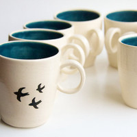 Coffee/Tea Cup in Teal Birds by RossLab on Etsy