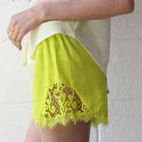 Neon Lace Trim Shorts