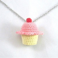Strawberry Flavored Crochet Cupcake Necklace - Whimsical & Unique Gift Ideas for the Coolest Gift Givers