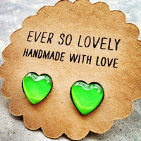 neon green heart earrings summer love - handmade lime green heart nickel free post earrings