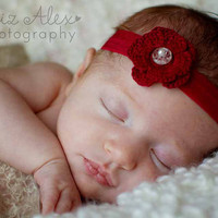 Valentine's Day Headband Red Crochet Flower by ThatsTheCutestThing
