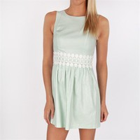 Kensie Women's Contemporary Shimmer Dress with Lace Trim at Von Maur