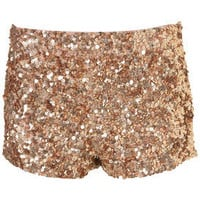 Copper Sequined Dollar Shorts - View All - Topshop USA