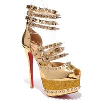 Christian Louboutin Isolde 160mm Spiked Patent Platform Pumps Gold