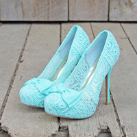 Mint & Lace Heels, Sweet Wedding & Bridesmaid Shoes