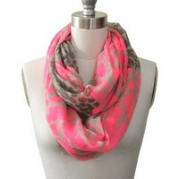 Two Tone Neon Animal Print Loop Scarf Hot Pink Color