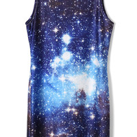 Galaxy Print Slip Silky Dress