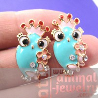 Cute Owl Bird Animal Stud Earrings in Blue with Floral Details
