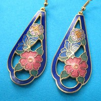 SALE - Dangle Floral Earrings in Blue