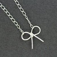 Bow Necklace : Make a Wish. Tiny Delicate Silver Plated Bow, Wish Symbol Necklace