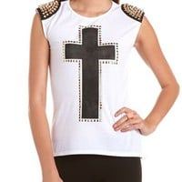 Studded Shoulder Cross Print Tank: Charlotte Russe
