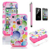 Pen + For iPhone 4S 4 Hybrid Case Impact Cover Rainbow Bubbles Pink Silicone