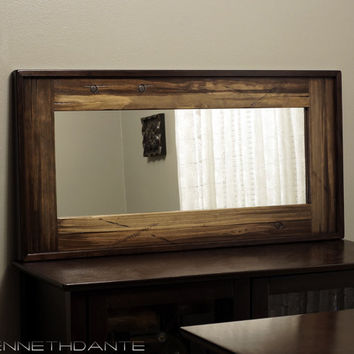 Decorative wood mirror distressed mantle from kennethdante on for Narrow wall mirror decorative