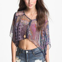 Band of Gypsies Print Chiffon Crop Top (Juniors) | Nordstrom