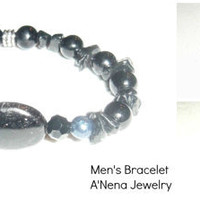 "Men's Bracelet  ""Creative"" - Squama, Black Pearl, Azabache and Jasper"