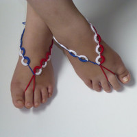 4.JULY ,Unique Barefoot sandals, crochet purple nude shoes, foot decoration, yoga clothes