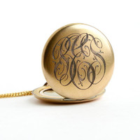 Antique Monogrammed Locket Necklace - Early 1900s Edwardian Art Deco Gold Filled Initial Pendant / Original Photographs