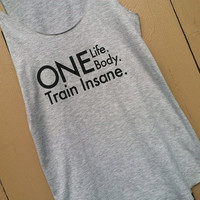 Gray Flowy Cotton Tank. MEDIUM One Life One Body