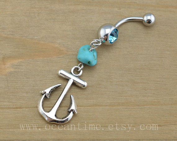 Anchor Belly Button Rings,Anchor Navel from OceanTime on Etsy