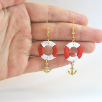Nautical earrings, anchor earrings with lifebuoy, red and white earrings
