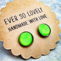 neon green round earrings summer love - handmade lime green heart nickel free post earrings