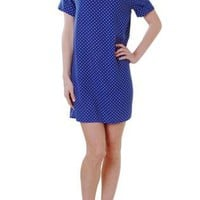 Royal Blue Polka Dot Print Short Sleeve Shift Dress