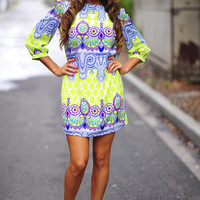 Patterned With Pride Dress: Lime | Hope's