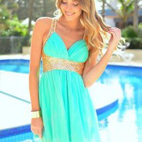 Mint V-Neck Dress with Gold Sequin Detail & Cross Back