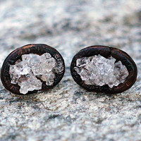 Copper Druzy Earrings, Bezel Set Charcoal Ice Druzy Stud Earrings, Rock Crystal Quartz, Drusy Jewelry