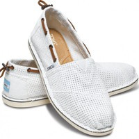 White Perforated Bimini Women's Stitchouts