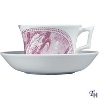 After Landscape Pink Garland Teacup & Saucer by Wedgwood