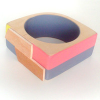 Wood Bangle Coral Yellow Grey