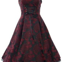 Amazon.com: 50's Brocade Prom Party Dress Red & Black: Clothing