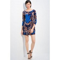 Emilio Pucci Printed Blue Gold Short Dress - Pucci Sleeve/Knee Dress