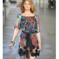 Emilio Pucci Short Sleeve Slim Printed Skirt - Hot Sale