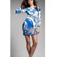 Emilio Pucci Sleeve Blue/white Print Short Dress - Pucci Sleeve/Knee Dress