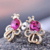 Crowned Octopus Colorful Rhinestone Earrings | LilyFair Jewelry