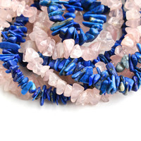 Vintage Semi Precious Stone Chip Bead Lot - Genuine Rose Quartz & Blue Lapis Jewelry Making Crafting Supplies / 5 Feet of Beading Supplies
