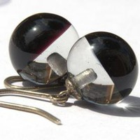 Bubble Earrings Blach and Clear Chick Glass and Sterling Silver Lampwork by XCognito on Zibbet