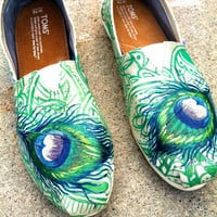 Made to Order Custom Painted TOMS Peacock Feather Shoes (Grosgrain Material)