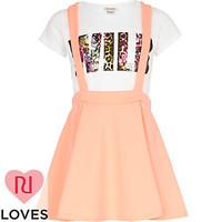 Girls coral dungaree skater skirt and t-shirt