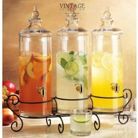 Set of Three Glass Gallon Drink Dispenser with Stand , Good Bar Equipment Very Elegant. Hold together 1.5 Gallon