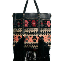 Oversized Fringed Leather Blanket Bag
