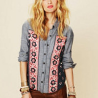 Free People Chambray Bandana Inset Buttondown Top